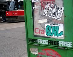 Fun Life Evil (Georgie_grrl) Tags: streetart toronto ontario graffiti expression ttc stickers creative free queenstreetwest streetcar cracked nowmagazine robford mydarkpinkside samsungd760 funlifeevil butibetitwasnt