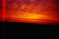 Solaris Sunrise (2) (Saturated Imagery) Tags: red film silhouette sunrise 35mm iso200 leeds lightleak vintagecamera meanwood konicac35efp ferraniasolaris200 epsonv500 agphotographic photoshopelements9