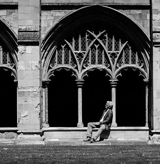 A quite moment. (David M:) Tags: uk trip travel light shadow england bw man art english monochrome beautiful beauty composition photoshop photo spring nikon europe cathedral emotion image britain 4 north norfolk picture scene structure photograph shade norwich british form shape tone available tonal lightroom black white compose d7000