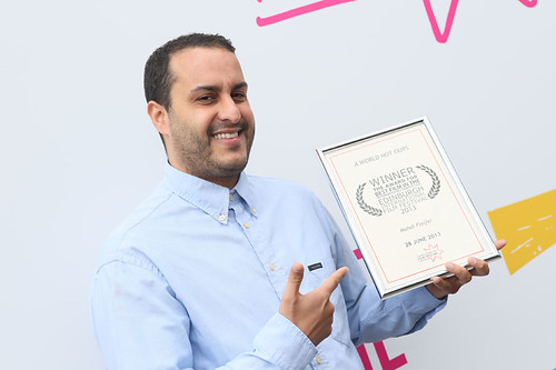 Mahdi Fleifel, director of A World Not Ours, outside the Filmhouse after the Awards ceremony with his award for Best Film in the International Competition