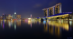 Marina Bay Skyline @blue hr (kengoh8888) Tags: show lighting blue sky reflection nature water colors night marina landscape lights bay flyer singapore colorful long exposure pentax sigma hours sands 1020 hdr k5 mbs citiscape