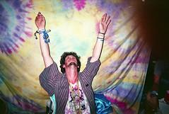 Bonnaroo Music Festival // 2013 (JeffWellerPhotography) Tags: portrait music color male guy film up festival shirt 35mm beard necklace hands neon pastel cigarette stripes flash tie down button bracelet environment bracelets dye bonnaroo roo colornegative 2013 jeffweller