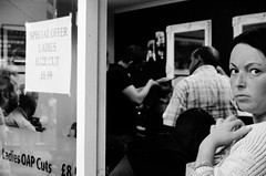 ladies hair (Claire Maw Photography) Tags: street ladies bw haircut photography market leeds indoor hairdressers barbers kirkgate 2013