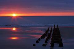 A Little Late Sunshine (John Ibbotson (catching up!)) Tags: sunset sea sun beach water wales reflections coast seaside day cloudy cymru ceredigion borth