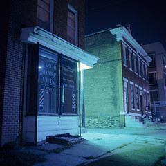 (patrickjoust) Tags: street city urban usa house west color 120 6x6 tlr film home shop night analog america dark lens us reflex md focus long exposure fuji mechanical united release tripod north patrick twin maryland slide cable row baltimore sharp chrome barber after medium format states tungsten manual expired joust e6 cuts balanced razor 65 estados reversal unidos mamiyac330s autaut fujichromet64 sekor65mmf35 patrickjoust vision:night=074