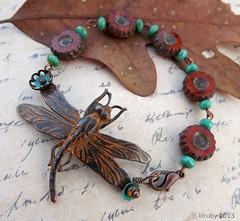 Autumn dragonfly (lilruby) Tags: autumn dragonfly handpainted bracelet patina czechglass lilruby lilrubyhandcraftedjewelry