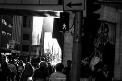 Walking in sky (Danny Mualim) Tags: city blackandwhite sydney arrow westfield traficlight rightarrow