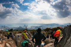 Jangsan (DMac 5D Mark II) Tags: city travel light people sun mountain fall tourism sunshine photography hiking peak sunny equipment views busan summit rays hikers southkorea 2013 jangsan