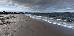 Lab (think4d) Tags: winter beach strand germany sand meer wasser waves cloudy footprints balticsea steine shore sonne ostsee kiel algen wellen nass bewlkt overcasted fusspuren
