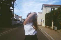 take me back (ophelia_horton) Tags: camera trees houses girls summer sky cats france streets film girl yellow clouds photography la holidays teenagers sunny olympus skirt nostalgia teen beaches teenager mustard suburbs forever cheerleader larochelle ophelia rochelle teengirl teengirls opheliahorton