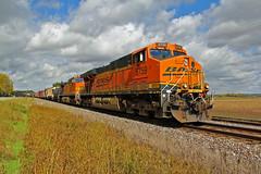 Blue Sky's and Orange unit's. (Machme92) Tags: railroad sky orange clouds rail trains rails ge bnsf railroads kline railfanning dash9 gevo railfans hannibalsub