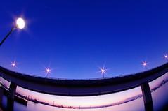 Bay Bridge before dawn (usotuki) Tags: morning reflection sunrise dawn baybridge yokohama predawn   newyearsday     cottonharbor  cottonohashi