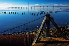 (Abel AP) Tags: california bridge usa water canon bay rocks debris fremont walkway sanfranciscobay dslr dumbartonbridge fremontca eosrebelt3i abelalcantarphotography