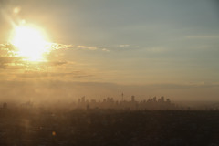 Sydney Skyline against sunset (phhesse) Tags: sydney australia aerial helicopter australien robinson r44 2013