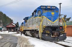 DSC_0167 (Michael P Bartlett) Tags: blue winter snow cold yellow dof saratoga tracks trains adirondacks northcreek bokey saratoganorthcreekrailway