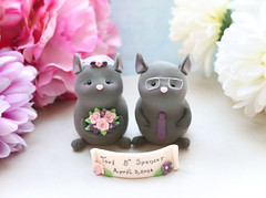 Chinchillas cake toppers wedding (PassionArte) Tags: wedding animals cake mouse grey groom glasses bride handmade banner plum mice clay chinchillas bouquet etsy names custom toppers personalized