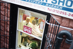 18th st and 8th Ave. (zalkr) Tags: new york nyc shop nikon barber cheers chuck n90 expert portra400 cheers2 chuck2 chuck3 chuck4 cheers3 cheers4 chuck6 chuckedoutbythepigsty chuck5 chuck7