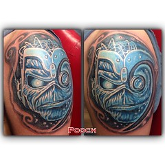 Eddie tattoo with a bass clef on Rob from Made of Metal #eddie #ironmaiden #edthehead #somewhereintime #metal #pooch_art #madeofmetal @ispeedatnight
