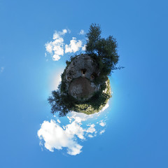 Necropolis of Pantalica (HamburgerJung) Tags: panorama pentax fisheye planet sicily sicilia k3 stereographic hugin sizilien littleplanet da1017 necropolisofpantalica