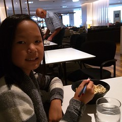 Sally enjoying the food at the Star Lounge. Yes, she is coming to Japan with me.