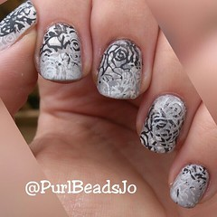 OPI 'Cream In My Coffee' stamped with Rimmel 'Grey Matter', MUA Cosmetics 'Pitch Black' and Essie 'No Place Like Chrome'. Topped with OPI Matte TopCoat. (JBOT   Adaptive Disability Lifestyle) Tags: art coffee beauty make up shop square grey place top no coat nail creative cream like polish chrome squareformat stamping cosmetics matte essie varnish mua matter lacquer opi vernis stamper rimmel npa topcoat iphoneography instagramapp uploaded:by=instagram