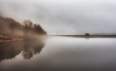The Clearing..... (Missy Jussy) Tags: fog reservoir reflections building trees wall sky moodylandscape landscape piethorne rochdale lancashire england atmosphere sunlight canon canon50mm canon5dmarkll