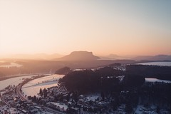 Sunrise in Saxon Switzerland (thomasrichterphotography) Tags: sky landscape sunrise morning nature view colors germany wide colorful deep depth saxonswitzerland saxony wideness pointofview width elbe bastei sandstone lilienstein tokina1224mm tokinaaf1224mmf4 clear weather cold snow winter klar schnee