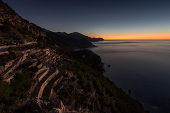 Mallorca - terrace look (Rafael Zenon Wagner) Tags: nikon d810 tamron 15mm mallorca weitwinkel terassen abend licht sonnenuntergang dämmerung stille blau orange mittelmeer küste felsen meer wasser langzeitbelichtung wide angle terraces evening light sunset twilight silence blue mediterranean coast rocks sea water longexposure