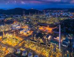 Oil refinery and chemical plant from air bird eye view (anekphoto) Tags: plant oil view night bird eye thailand tank refinery petrochemical chonburi color business sky landscape technology metal line environment power energy construction industry sunset tower industrial smoke economy engineering tube fuel supply chemical gas factory chemistry pipe manufacturing chimney gasoline petrol pipeline petroleum operation distillery iran distillation laem chabang drone