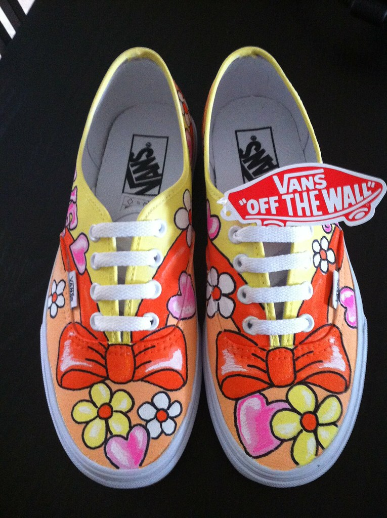 df1a798b8cd2f6 custom vans (Sherbie lemon) Tags  flowers orange flower love shoes peace  hand power