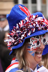 Team GB fans on the Strand in London for the Olympic Victory Parade (Ian Press Photography) Tags: people london strand jack happy person britain flag union great joy happiness patriotic celebration gb british olympic olympics celebrating 2012 paralympics london2012