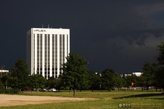 White Tower Against Dark Sky (Juan N Only) Tags: white storm building tower architecture contrast outdoor michigan july troy highrise darkclouds stormclouds 2013 criticismwelcome juannonly