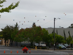 pre market view of hot air balloons