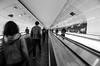 Moving walkways (Thomas Rombauts) Tags: street blackandwhite bw paris france moving europe noiretblanc metro walkway grayscale montparnasse iledefrance régionparisienne parisregion
