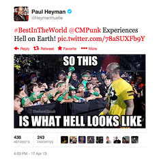 Paul Heyman tweets a Heelbook caption contest winner, Matthew Hager.