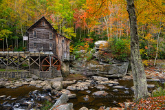 Where Autumn Color is Made (pdxsafariguy) Tags: autumn tree mill creek rustic historic westvirginia bark lichen watermill gristmill tomschwabel gladecreek babcockstatepark gladecreekgristmill gladegristmill