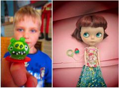 Angry Birds, boy and Anouk (Blythe Spa Time) Tags: pink boy birds river doll angry blythe gr freckles custom moshi mori gentle moshimoshi