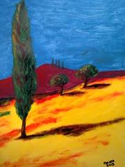 yellow field (fraser wilson) Tags: blue trees red tree yellow bright baum yellowtree yyy almondsbury bluepainting piovedisacco fieldcolour