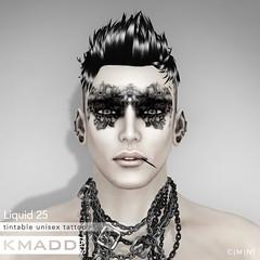 KMADD Tattoo ~ Liquid 25 (www.kmaddmoda.com) Tags: kmadd kmaddmoda kmaddtats kmaddtattoo tattoo facialtattoo secondlife avatars maddoxdupont