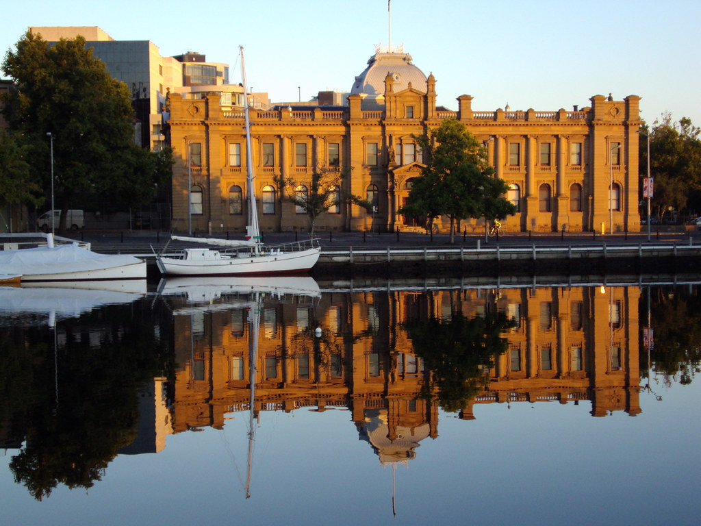 Hobart. Old Customs House reflected in the Derwent River