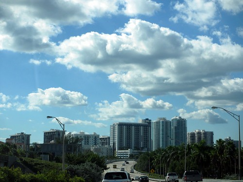 Highway curve and clouds, Miami, Florida