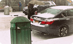 cup of coffee in the snow (Robert S. Photography) Tags: street nyc winter woman snow storm cold colour coffee car brooklyn trash umbrella can blizzard canonpowershot 2014 a3400