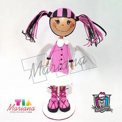 tiamariana_monterhigh01 (decoracaoemeva) Tags: aniversario monster de 3d eva centro rosa preto e boneca mesa lembrancinha hirg draculaura