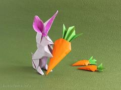 Алена, с днем рождения! :) (ronatka) Tags: birthday rabbit origami gift carrot kraftpaper pajarita akirayoshizawa andreyermakov