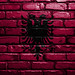 National Flag of Albania on a Brick Wall