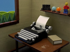 Tell Your Story (cmaddison) Tags: lego typewriter interior scene ironbuilder