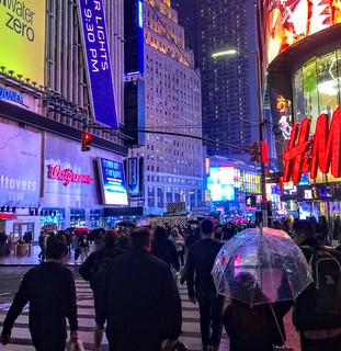 Light Rain in Times Square -- Last Nght