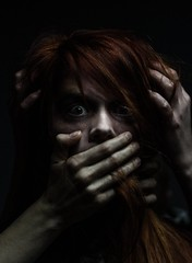 Scare (davebentleyphotography) Tags: davebentleyphotography canon 2017 terror creepy cosplay costume fright frightened scared horror suspense thriller face emotion portrait hands canon6d canon85mm primelens incompletestrobistinfo removedfromstrobistpool seerule2