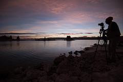 Photographer at Dawn's Light, Mono Lake (tr0mbley) Tags: mono lake california sierras 395 the mobil tioga pass yosemite tufa preserve nikon d810 photographer sunrise dawn water reflection silhoutte