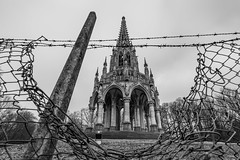 Another perspective (VladOne BLS) Tags: closed bw blackandwhite monument perspective architecture fence abandoned forsaken lowangle sony a7rii sony1635 wideangle travel bruxelles belgium bruselles capital
